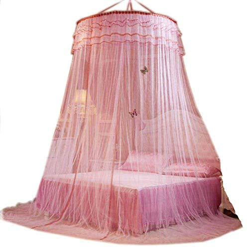 Bed Canopy with Butterflies Bed Curtains from Ceiling Princess Bed Canopy for Girls Bed (Pink) ()