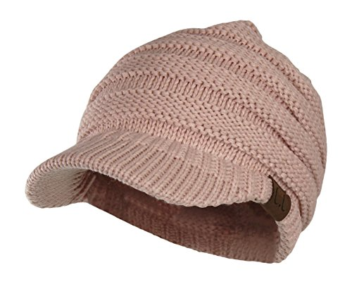 Warm Cable Ribbed Knit Beanie Hat w/ Visor Brim