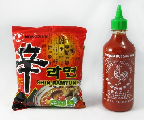 8-pack Nong Shim Shin Noodle Ramyun, Gourmet Spicy Picante, 4.2 Oz Bags with Huy Fong, Sriracha Chili Rooster Hot Sauce, 17 Oz Bottle by Nongshim