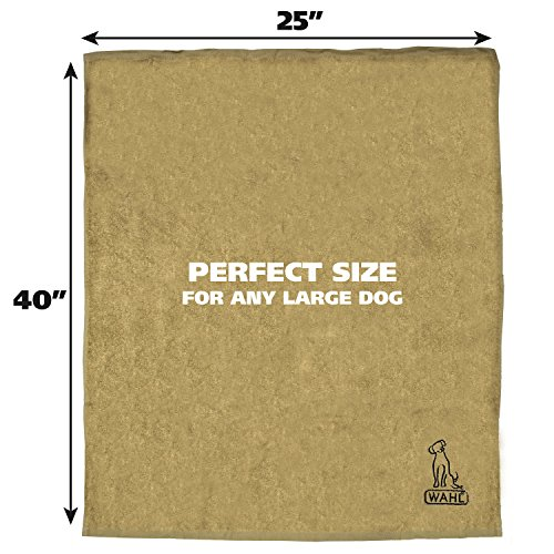 Wahl 40 x 25 Large Drying Dog Towel Tan 858489 Absorbent Soft Fabric Dog Towel for Grooming and Bathing by Wahl (Image #2)