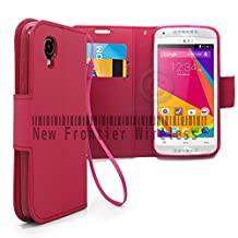 BLU Dash C Music Dash Music JR (D380L / D390)Flip Cover Wallet Case with a hand band, Many Colors Available (Wallet Pink)