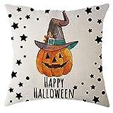 Hongxin Halloween Pillow Case,1PC Cotton Linen Pumpkin Pattern Square Cushion Cover Pillow Case Home Decor (C, 45cm45cm)
