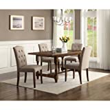 5 Piece Dining Set, Wood Table and 4 Upholstered Chairs, Transitional Style, Space Saver, Ideal for Everyday Meals, Family Gathering and Evening, Kitchen, Home Furniture, Brown Color