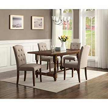 amazon com 5 piece dining set wood table and 4 upholstered chairs