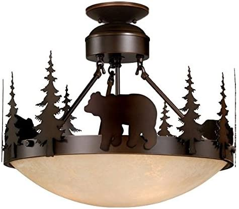 Vaxcel CF55718BBZ 3 Light Bozeman Semi Flush Large Pendant