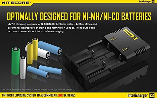 NiteCore-i2-V2014 Universal Intelligent Charger for two Batteries Compatible With IMR/Li-ion (Black)