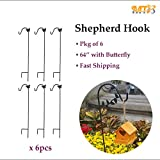 MTB Shepherd Hook 64 Inch with Butterfly,1/2 Inch Diameter, Ideal for Solar Lights Lanterns,Bird Feeders,Mason Jars and Plant Hangers,Pack of 6 (Also Sold as Pack of 1)