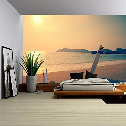 Wall26 - Old photo of surfboard on the wild beach of Hawaii, US - Removable Wall Mural   Self-adhesive Large Wallpaper - 66x96 inches