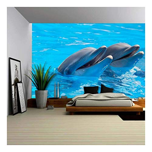 wall26 - Happy Dolphins in The Blue Water of The Swimming Pool - Removable Wall Mural | Self-Adhesive Large Wallpaper - 100x144 ()
