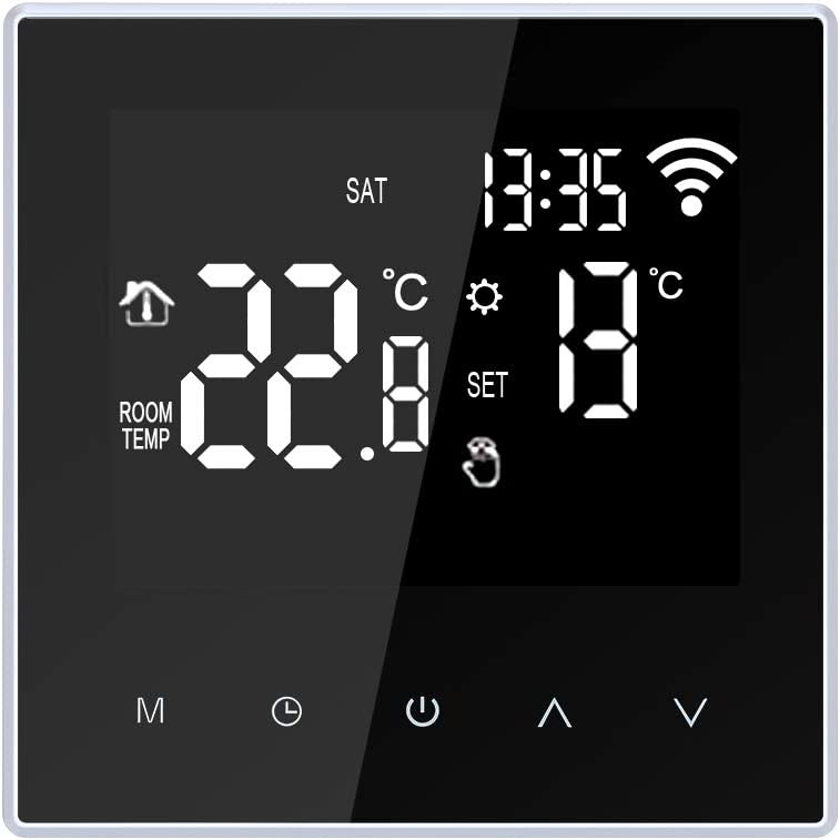 wifi thermostat,Galapara Wi-Fi Smart Thermostat Digital Temperature Controller APP and Thermostat Control Circulation Programmable Electric Underfloor Heating with Large LCD Screen for Home 6A