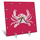 3dRose dc_164897_1 White Crab Etching on Red Beach Sea Ocean Nautical Crustacean Animal Desk Clock, 6 by 6''