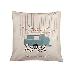 Showutheworld Cotton Linen Square Decorative Throw Pillow Case Vintage Cushion Cover home is where you park it 18X18 \