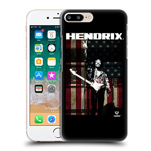 Official Jimi Hendrix Peace Sign American Flag Key Art Hard Back Case for Apple iPhone 7 Plus / 8 (Jimi Hendrix Wires)