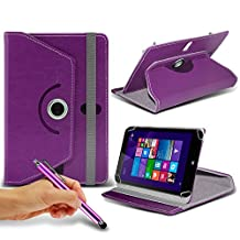 "ONX3® HP Stream 7 7"" Inch Rotating 360 Luxury PU Leather Spring Stand Cover - Various Colours (Purple + Pen)"