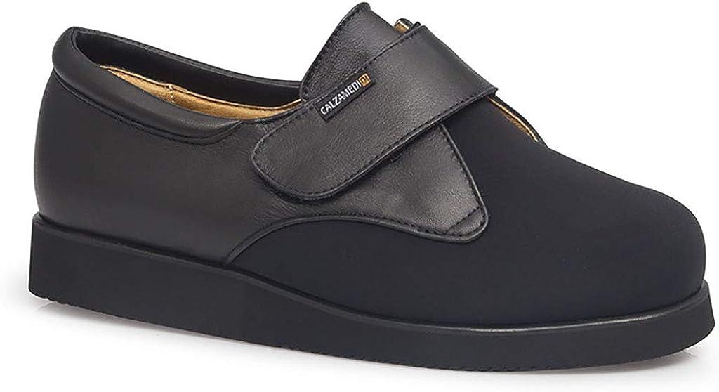 Zapatos Unisex para diabeticos CALZAMEDI, Piel con Lycra Negro,Cierre Velcro,Piso microporoso,Horma 15. Mod.0008