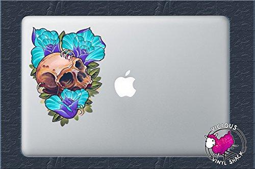 Skull and Blue Roses (8 INCHES) Color Vinyl Decal Sticker Car Window MacBook Laptop Computer Tattoo Design Artist Birds Drawing Painting Skeleton Halloween Purple Leaves Bones Design
