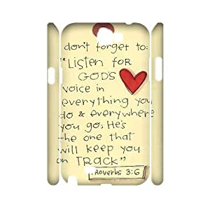 Qxhu Christian & Bible Verses Quotes Protective Snap On Hard Plastic Case for Samsung Galaxy Note2 N7100 3D case