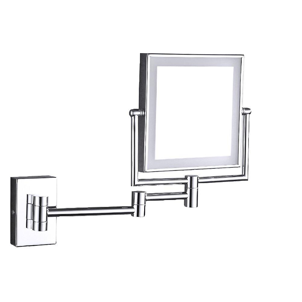 Rechteck bad kosmetikspiegel, Kupfer-spiegel Wandmontage Badezimmerspiegel Folding teleskop-spiegel Zweiseitige schwenkbare Vergrößern Mit led-licht Kosmetikspiegel-B