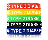 5 Pack Assorted Colors Medical Alert ID¡° Type 2 Diabetes¡± Silicone Bracelets Wristband for Men,7.5''