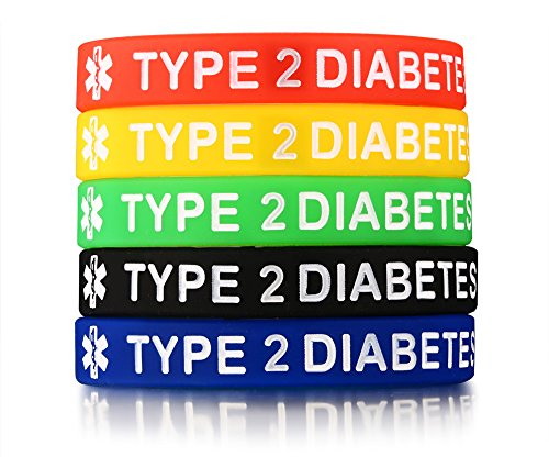 Friends For For Costumes Ideas Two Pair (5 Pack Assorted Colors Medical Alert ID¡° Type 2 Diabetes¡± Silicone Bracelets Wristband for)