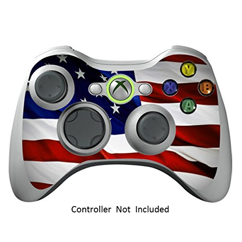 Decal Sticker Star - Skin Stickers for Xbox 360 Controller - Vinyl Leather Texture Sticker for X360 Slim Wired Wireless Game Controllers - Protector Stickers Controller Decal - Stars N Stripes [ Controller Not Included ]