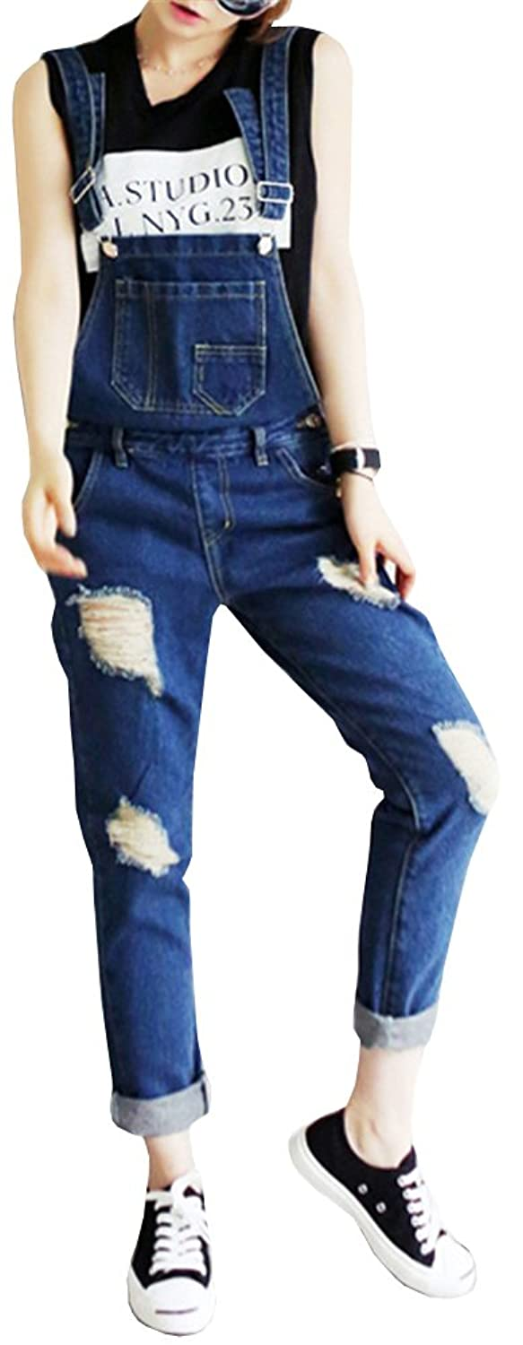 AnVei-Nao Womens Girls Ripped Casual Work Pants Jeans Denim Bib Overalls Dark Blue US 12