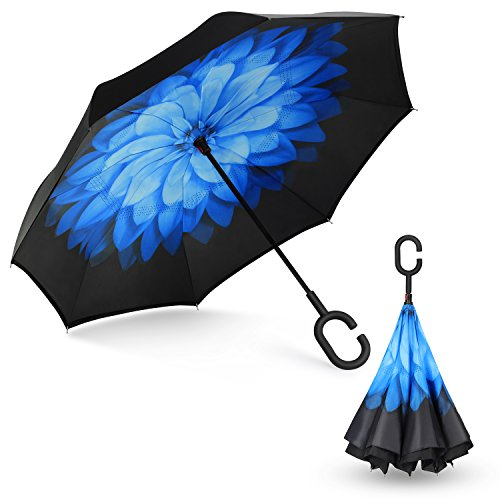 SHINE HAI Inverted Umbrella, Double Layer Windproof Reverse Umbrella, Self-Standing C-Shaped Handle Big Straight Umbrella, UV Protection, Inside-Out Folding for Car