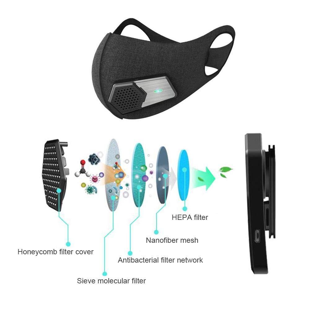 con Bolsa Easy-topbuy Mascara Deportiva Inteligente Port/átil A Prueba de Polvo Eeficaz Recargable Filtro de Cuatro Capas