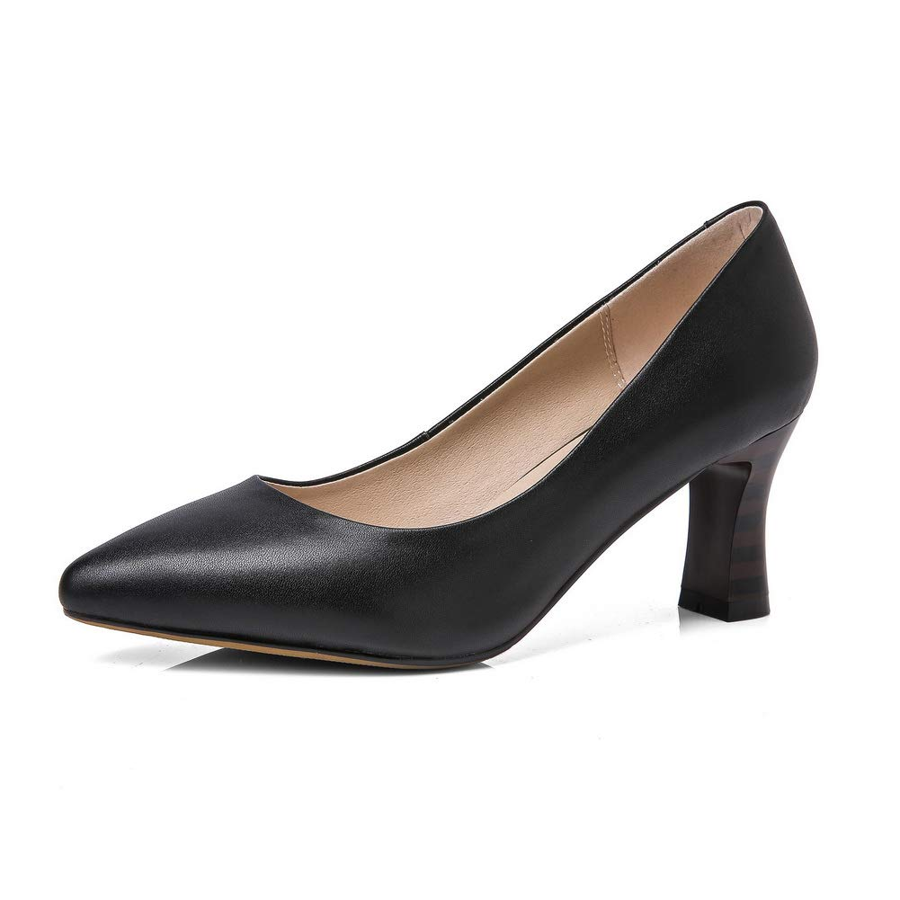 1TO9 Womens Solid Business Smooth Leather Urethane Pumps Shoes MMS06518