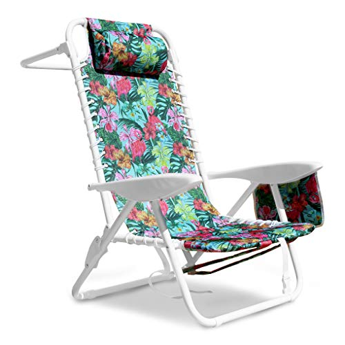 South Bay Board Co. Premium Beach Chair - Luxurious & Comfortable Suspension Seating, Folding Outdoor Chairs with 3 Position Lay Flat Reclining Mechanism - Perfect for The Beach, Camping, Hiking