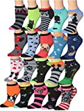 Tipi Toe Women's 20 Pairs Colorful Patterned Low Cut/No Show Socks (cat & dog characters) WL22-AB