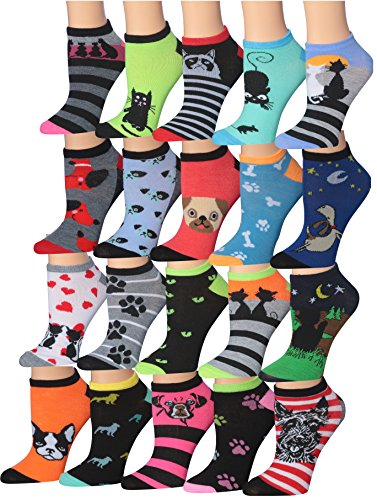 Toe Socks Ankle (Tipi Toe Women's 20 Pairs Colorful Patterned Low Cut/No Show Socks (cat & dog characters) WL22-AB)