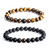 AmorWing Long Distance Relationship Onyx Gemstone Matching Set Bracelet 8mm (2pcs)