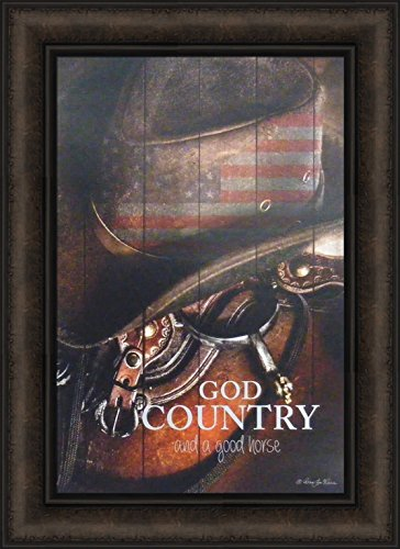 God Country by Robin-Lee Vieira 16x22 Cowboy Hat Saddle Spurs Flag Americana Western Equestrian Framed Art Wall Décor Print Picture