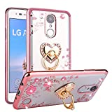 #8: CaseHaven LG LV3, LG Aristo Case, Glitter Crystal Heart Floral Series - Slim Luxury Bling Rhinestone Clear TPU Case With Ring Stand For LG LV3/ LG Aristo MS210 - Rose Gold