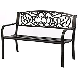 "50"" Patio Garden Bench Park Yard Outdoor Furniture Steel Frame Porch Chair"