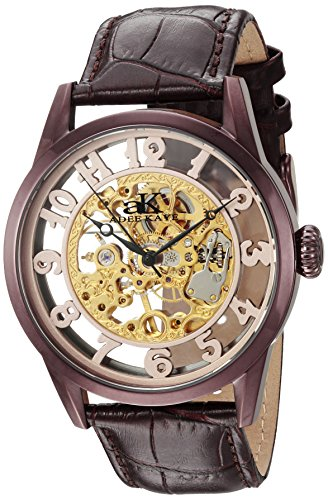Adee Kaye Men's 'Glass Collection' Mechanical Hand Wind Stainless Steel and Leather Casual Watch, Color:Chocolate Brown (Model: AK2296-MIPBR)
