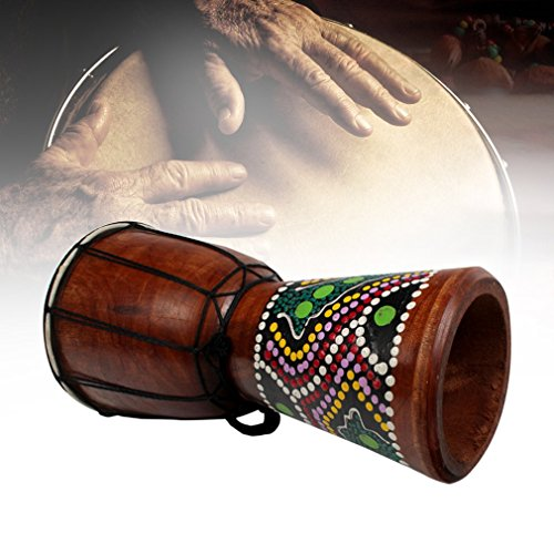 Doumbek Wood - 4 Inch African Djembe Percussion Mahogany Hand Drum with Goat Skin Surface wood color