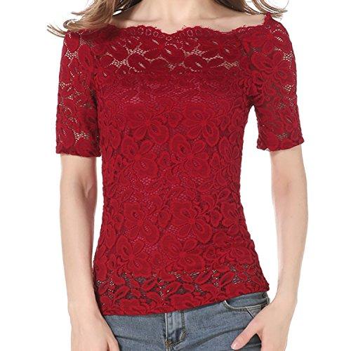Shirt en El Longues Floral T JLTPH Shirt Nue Ete Femme Epaule Manches Sexy Dentelle T z8v6q