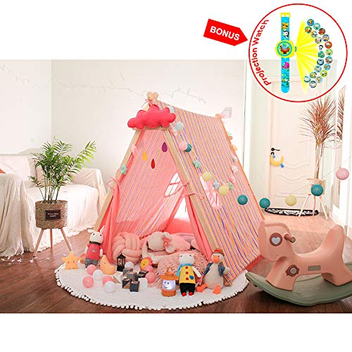 SUPEARTH Kids Teepee Tent, Play Tepee Tents 100% Cotton Canvas Tipi Large Children Tee-Pee for Girls Boys Baby Toddler Indoor and Outdoor (4 ft, 16.15 Sq.ft) ()