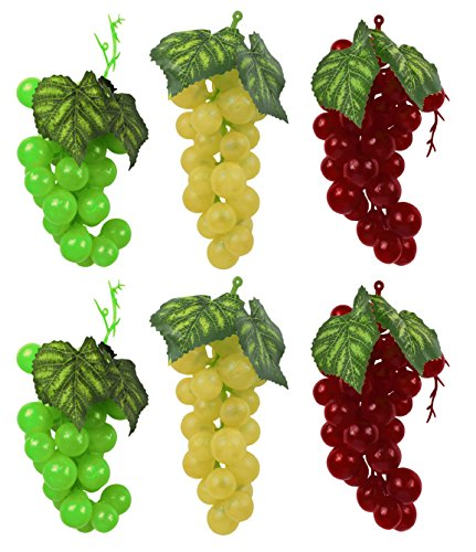 Black Duck Brand Set of 6-7'' x 2.5'' Faux Artificial Grape Bunches - Includes Green, Yellow and WIne Red Grapes -Perfect as Performance Props or Décor! by Black Duck Brand
