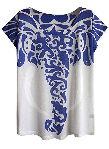 Elephant Print Tee - futurino Women's Tribal Elephant Print Short Sleeve Tops Casual Tee (M, Blue)