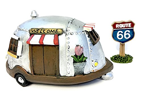 4 x 7 x 4 Resin MWD 55873 Miniature Fairy Garden Retro Airstream RV Camper Trailer Metal Look with Welcome Sign for Summer Home Decor Mini Gardening Terrariums Dollhouse Camping Lovers