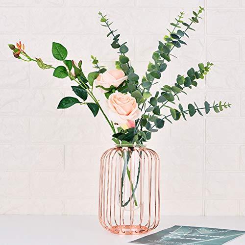 Uplord Geometric Iron Vase,Creative Hydroponic Plant Transparent Vase Frame Coffee Shop Room Decor (Vase Geometric Gold)