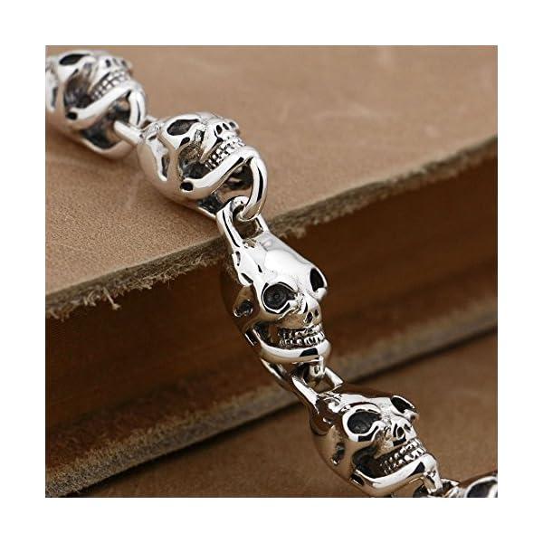 6-Lengths-925-Sterling-Silver-Skulls-Mens-Biker-Punk-Bracelet-8W004