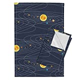 Roostery Science Solar System Sun Galaxy Stars Planet Science Fair Tea Towels Solar System by Mrshervi Set of 2 Linen Cotton Tea Towels