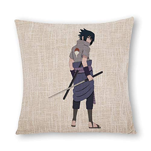BonanzaPro Naruto Shippuden Pillowcases, Teen Sasuke Clipart Sasuke Uchiha Naruto Uzumaki Decorative Simulated Hemp Anime Pillow Coverfor Sofa Home Bedroom Decor Double Sided 16