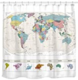 Modern Shower Curtains NEW! Map of the World Shower Curtain with Detailed Major Cities. PVC Free, Non-toxic and Odorless Water Repellent Fabric. Large Home DÃcor. 71'x71' Wall Map.