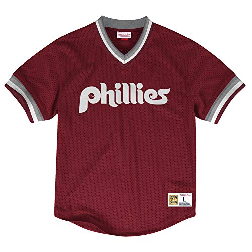 Mitchell & Ness Philadelphia Phillies Men's Mesh V-Neck Jersey (Small)