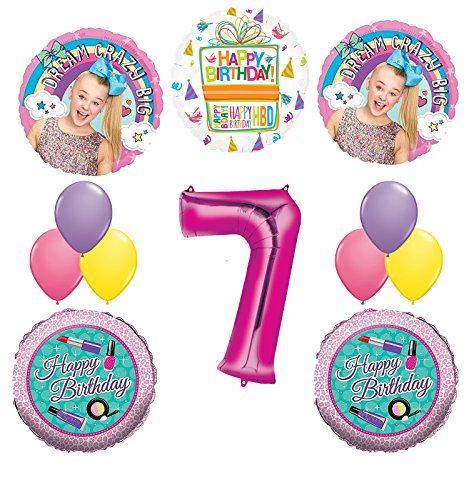 Price comparison product image JoJo Siwa Party Supplies Dream Crazy Big 7th Birthday Balloon Bouquet Decorations